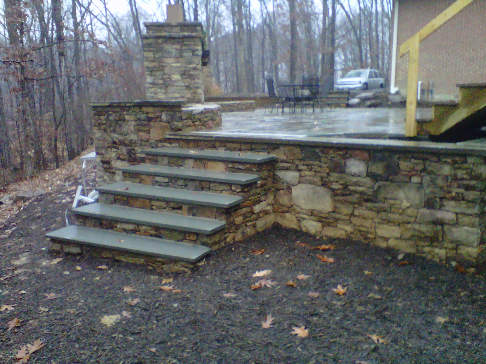 Solid stone topped steps