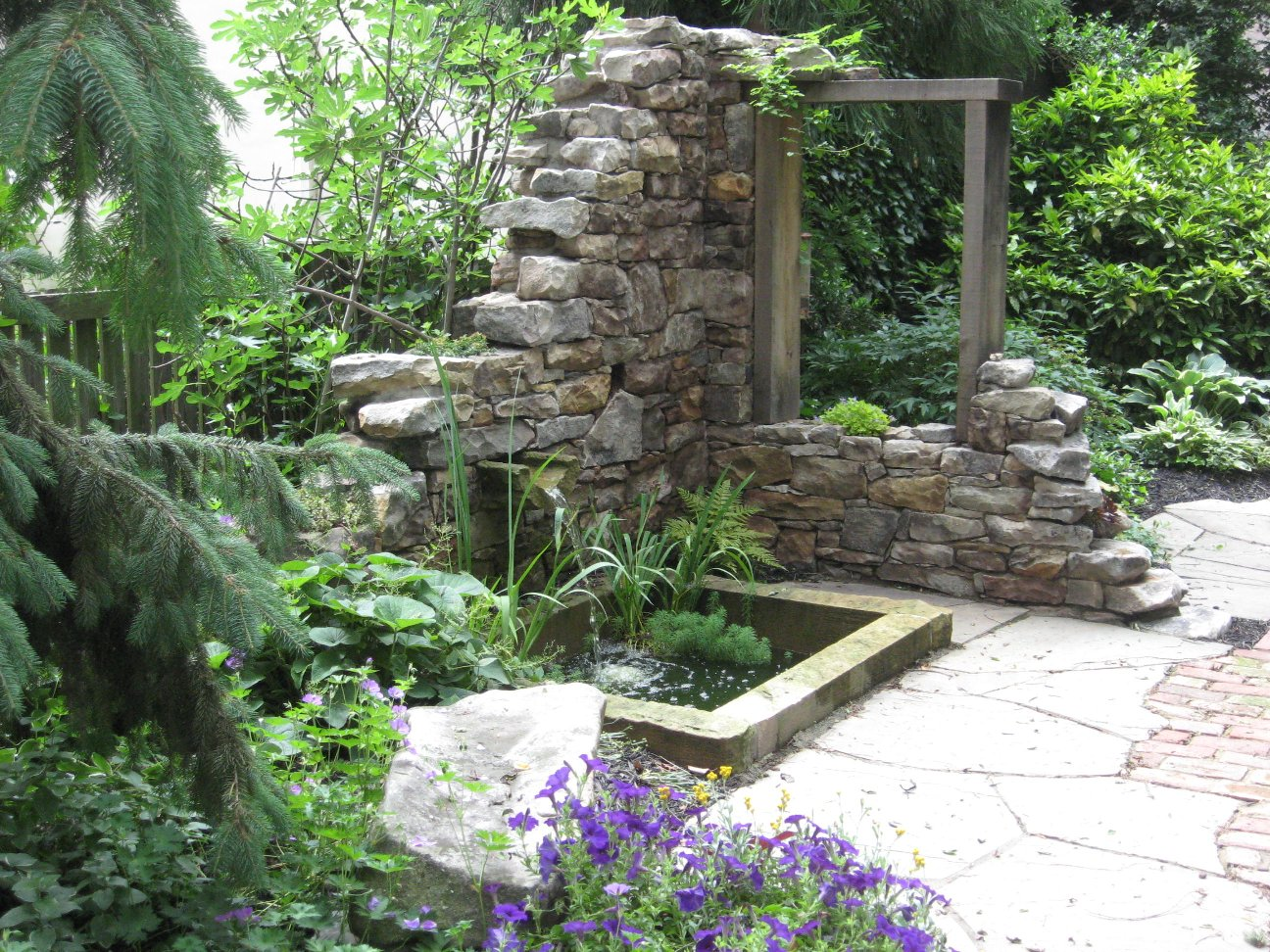 Stone wall and water feature