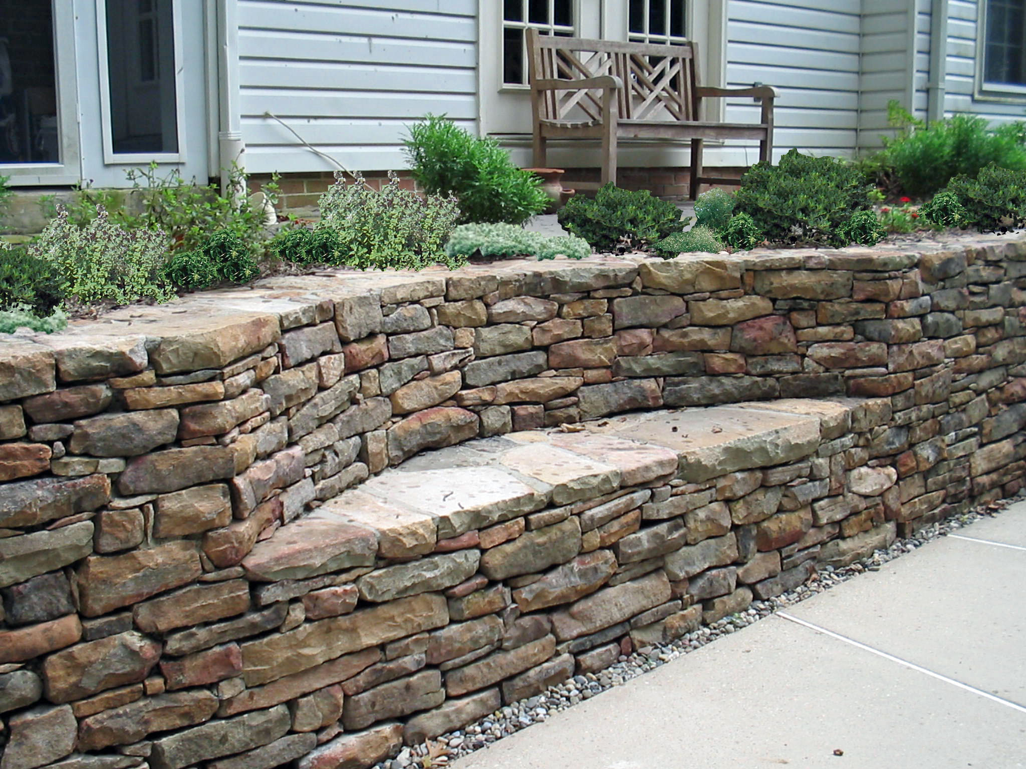 Stone Wall with built-in seating area