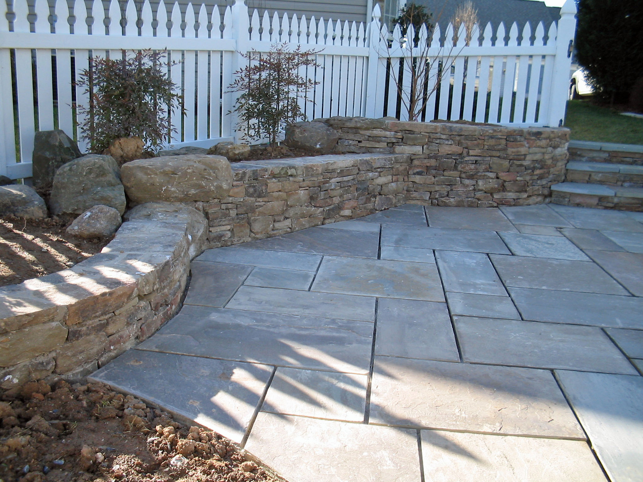 Stone patio walls