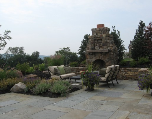 Stone Fireplace & Landscaping