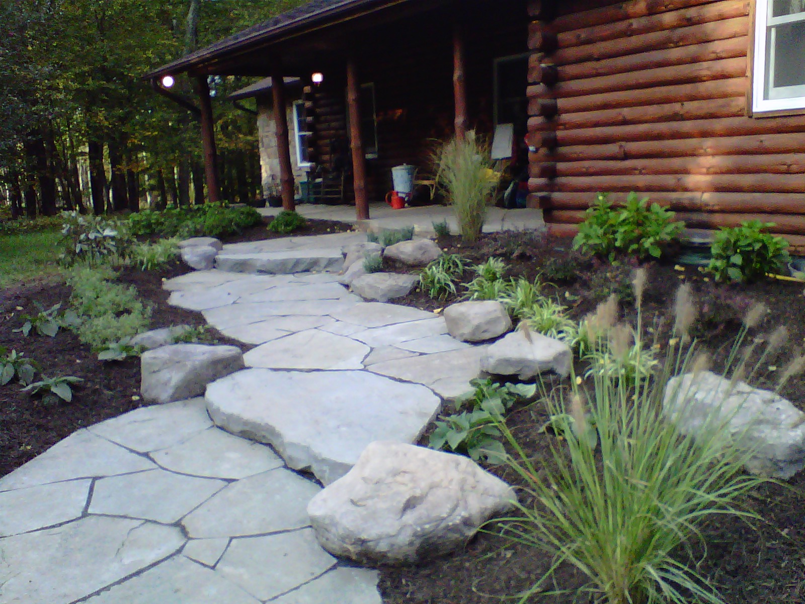 Rustic Stone inlaid path and graduated steps
