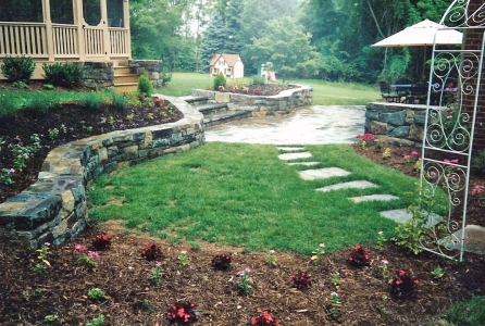 Beautifully designed stone retaining walls