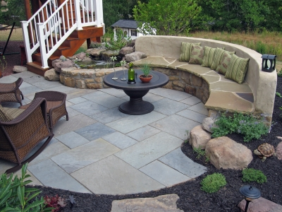 Stone Patio, Stone Seat Bench and Small Koi Pond