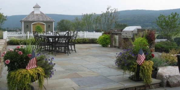 Beautiful Flagstone patio and custom stone grill surround