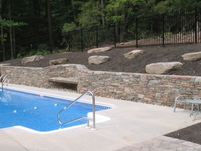 Poolside Retaining Stone Walls