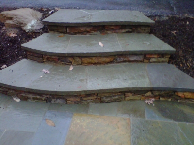 Stone Steps leading to patio