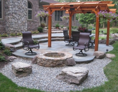 Stone Fire Pit, Sitting Boulders, Rear Yard Patio & Pergola