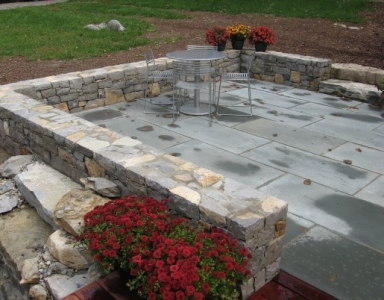 Patio Stone Wall at seating height