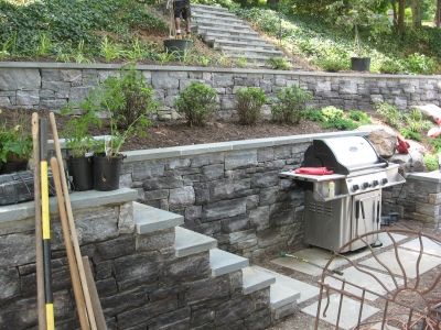 Stone Retaining Walls and stepping gardens