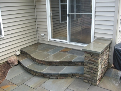 Entry stone steps with oversized landing, Leesburg, VA