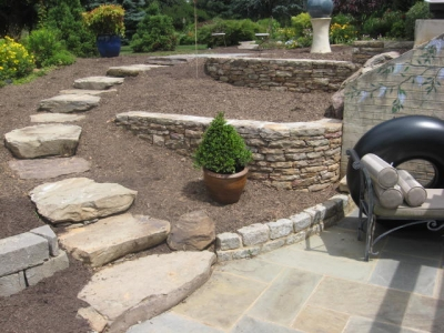 Multiple Stone Retaining Walls