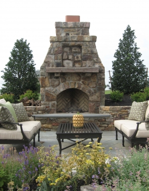 Flagstone Patio, Stone Fireplace & Landscaping