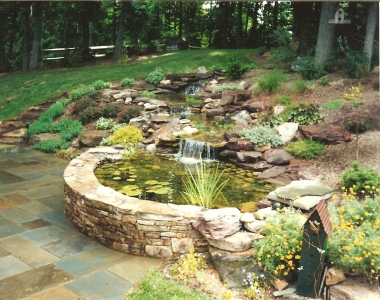 Waterfall, Koi Pond, Stone Wall Basin & Landscaping
