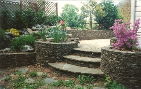 Natural Stone Planters and Retaining Wall