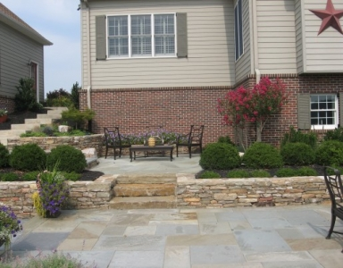 Stone Seat Walls, Stone Steps & Patterned PA Flagstone Patio