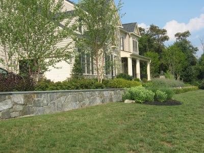 Stone Veneer Garden Retaining Wall