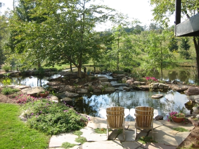 Turtle Pond, connecting Stream, Flagstone Sitting Area and Landscaping