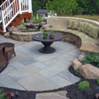 112 Flagstone Patio with Built-in Seating and Water Feature