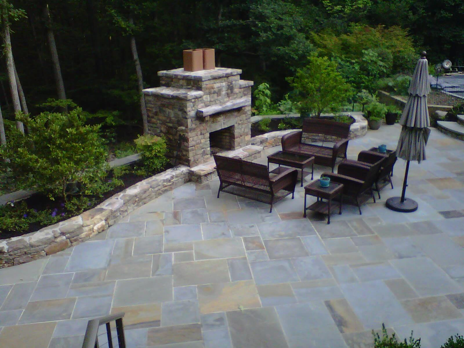 12 Flagstone Patio with Western Maryland and PA Beige Stone Garden Walls and Stone Fireplace