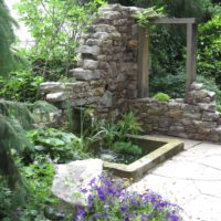 124 Cantilevered Stone Water Fall and Basin at Stone Ruin Wall