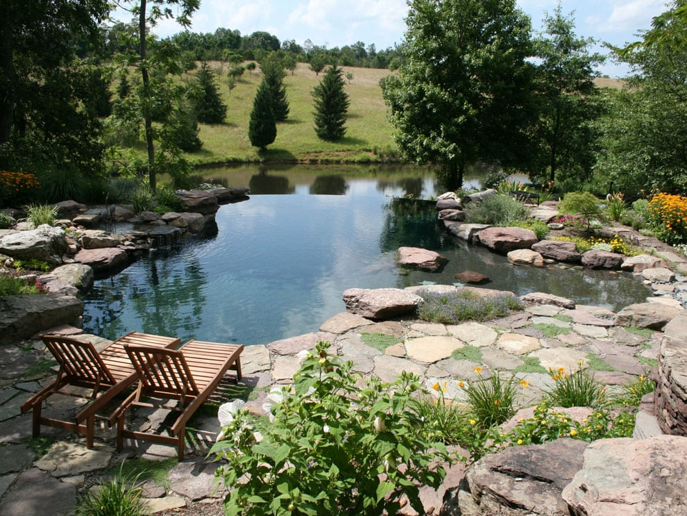 Paver Patio with Pond and small waterfall
