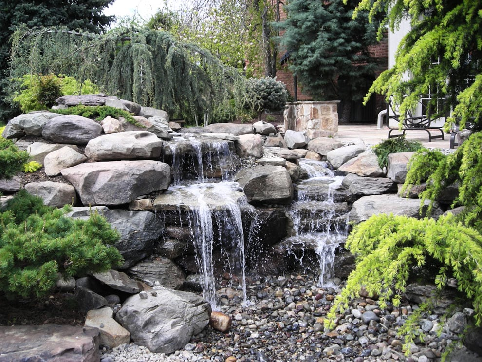 Waterfall with Paver Patio and Landscaping in Ellicott City, MD