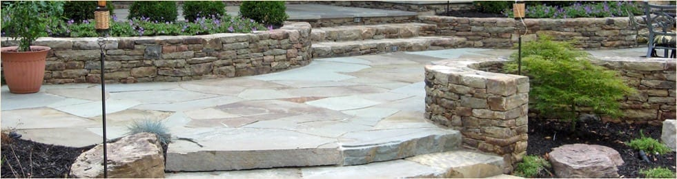 Flagstone Patio and Walls for Services