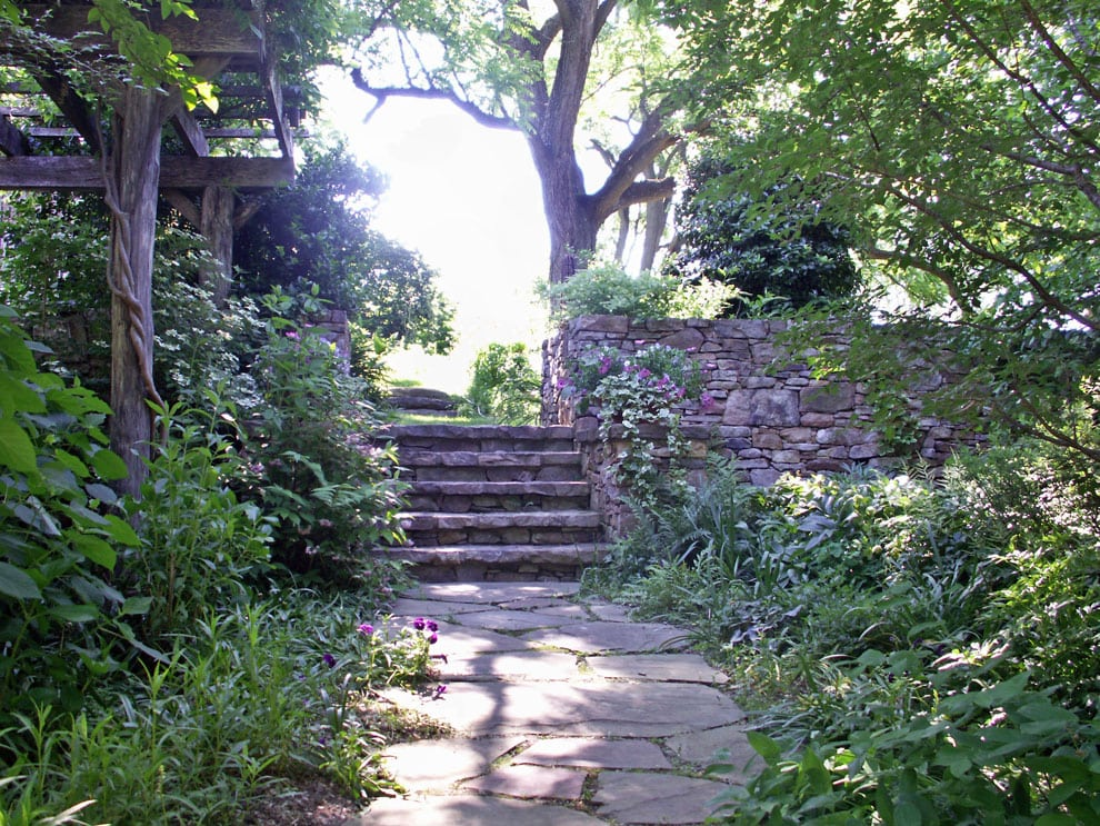 Landscape garden design in md va and wv pooles stone garden outdoor stone steps and patio with wooden pergola in ellicott city potomac md beyond workwithnaturefo