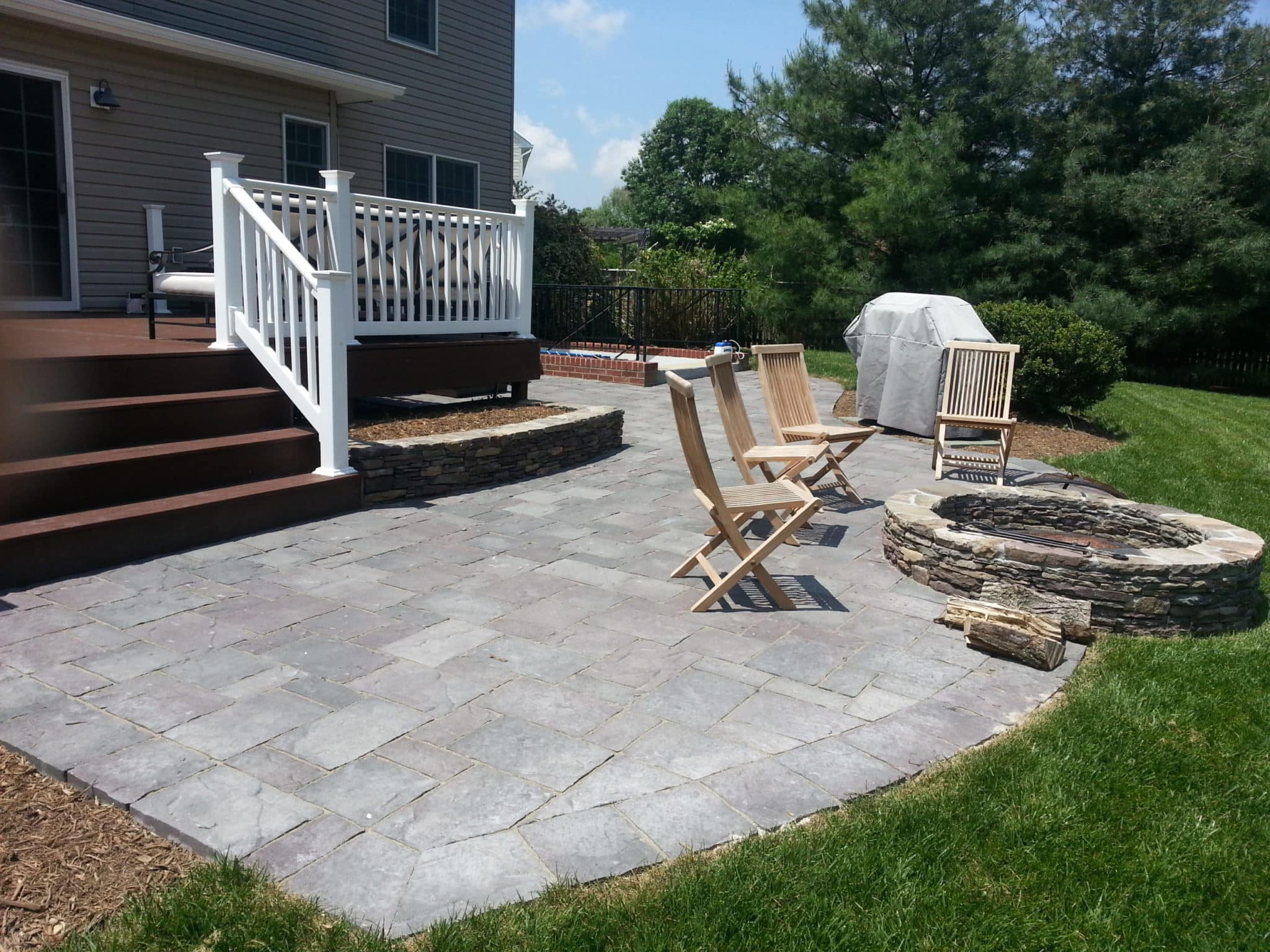 Paver Patio, Stone Firepit and Stone Retaining Garden Walls