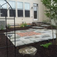 Flagstone Patio with Brick Inset