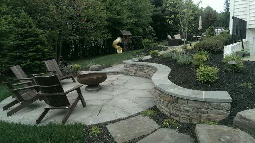 Flagstone Patios with PA Beige Stone Wall and Stairs with Flagstone Treads