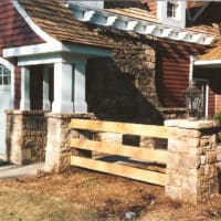 221 Entry Fence with Stone Columns