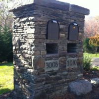 227 Stone Double Mailbox Entry Column with Stone Slab Cap