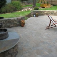 236 Paver Patio with Double-Sided Stone Wall and Elevated Water Feature