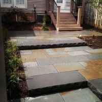 240 Multi-Level Townhouse Flagstone Patio with Flame-Edged Stepper Access to Garage
