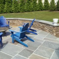 243 Flagstone Patio and Stone Sitting Wall with Flagstone Cap