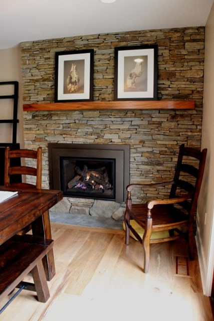 246 Fireplace Renovated with Baltimore Wallstone Laid in Semi Dry Stack Style