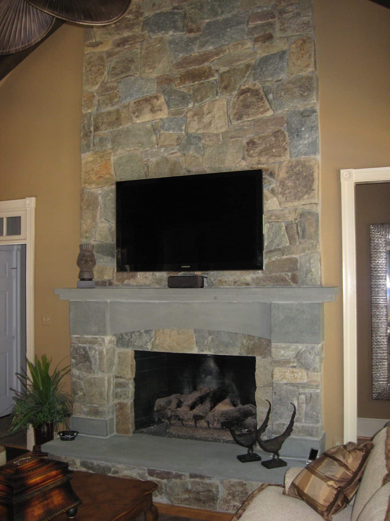 266 Stone Fireplace with Flagstone Capped Hearth and Mantle