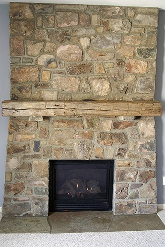 272 Stone Fireplace with Distressed Wood Mantle