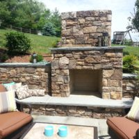 276 Stone Fireplace with Flagstone Mantle