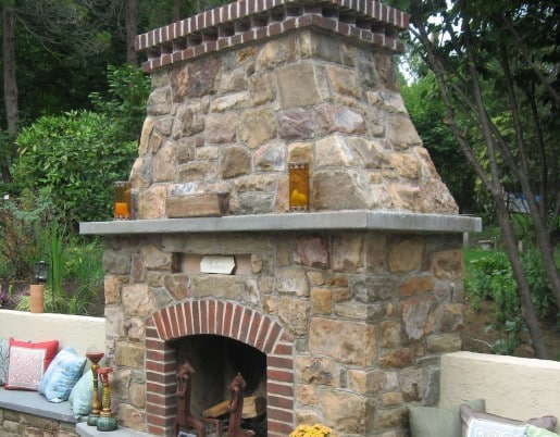 277 Stone and Brick Fireplace with Raised Stone Hearth