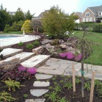 290 Wide Flagstone Walkway and Steps to Pool