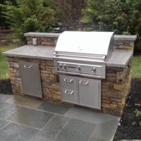 330 Custom Built Gas Grill with PA Beige Wall Stone and Concrete Countertop