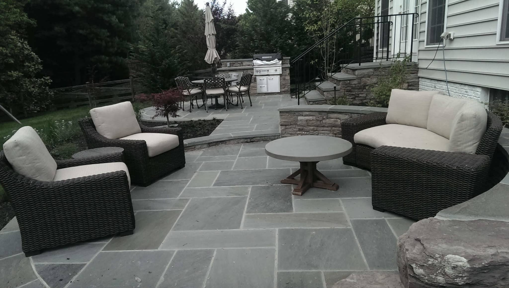 331 Flagstone Patios with PA Beige Stone Wall and Stairs with Flagstone Treads