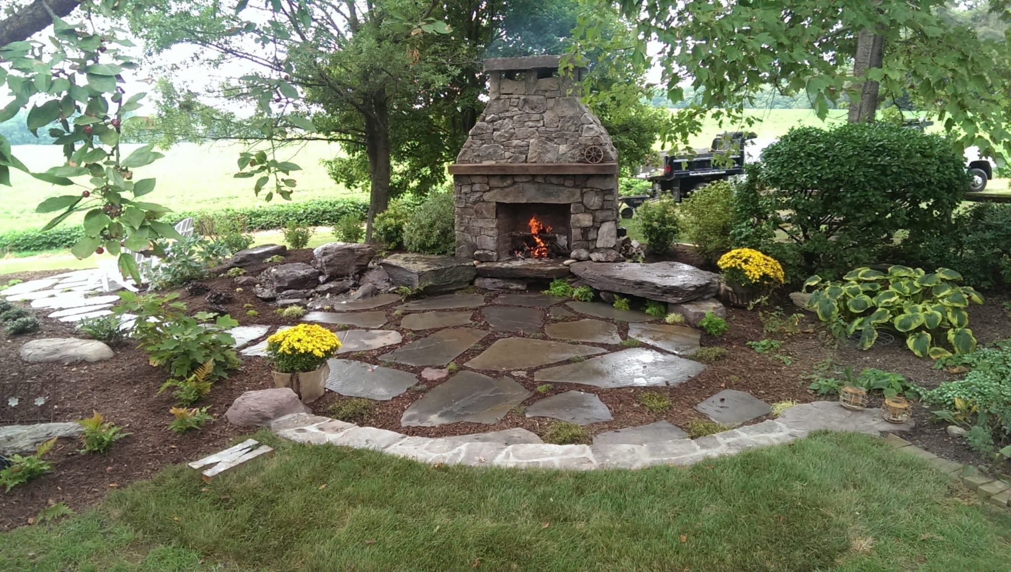 353 Stone Fireplace and Sitting Boulders