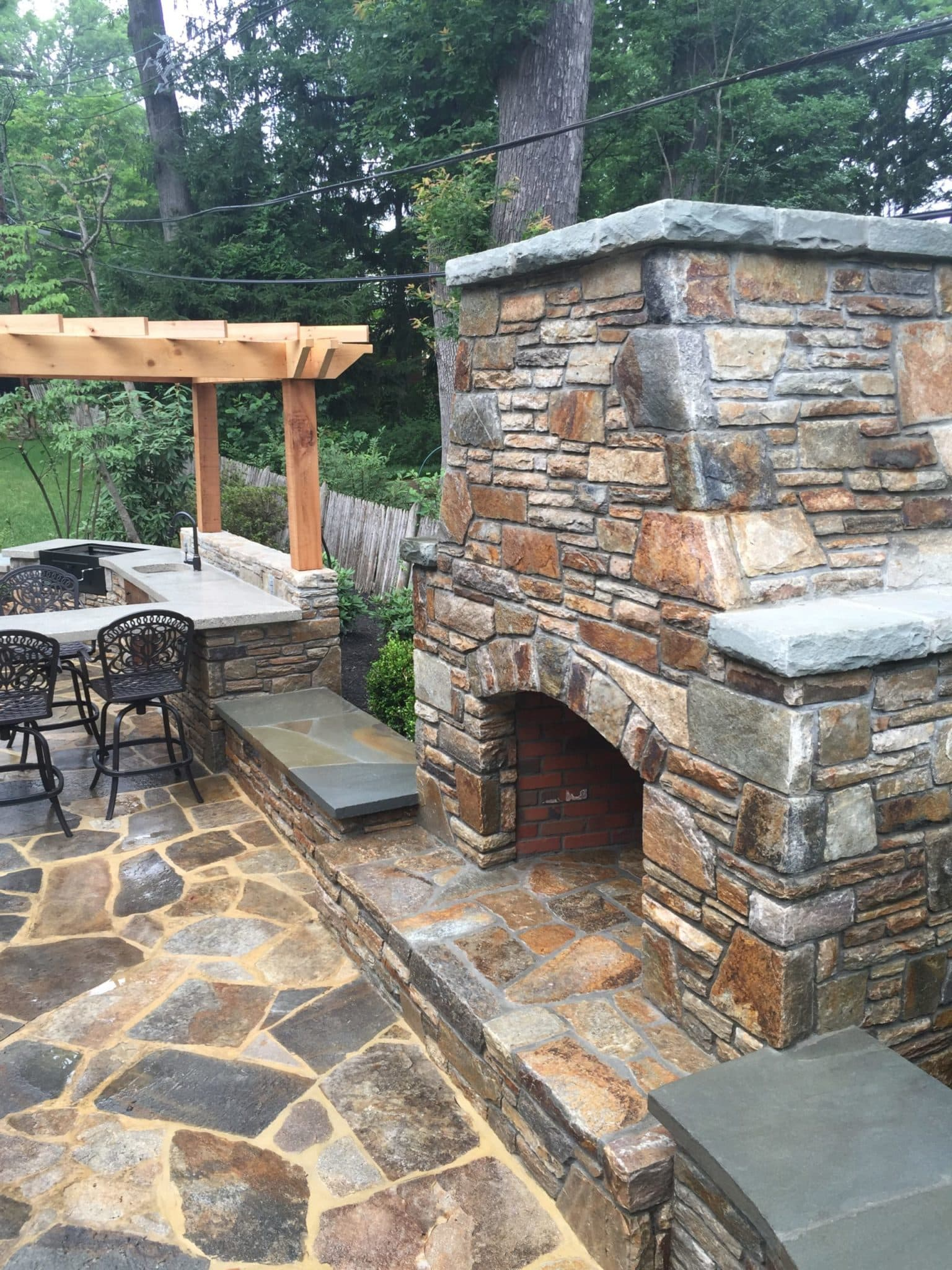 397 Outdoor Fireplace in Baltimore Wall Stone with PA Flagstone Caps