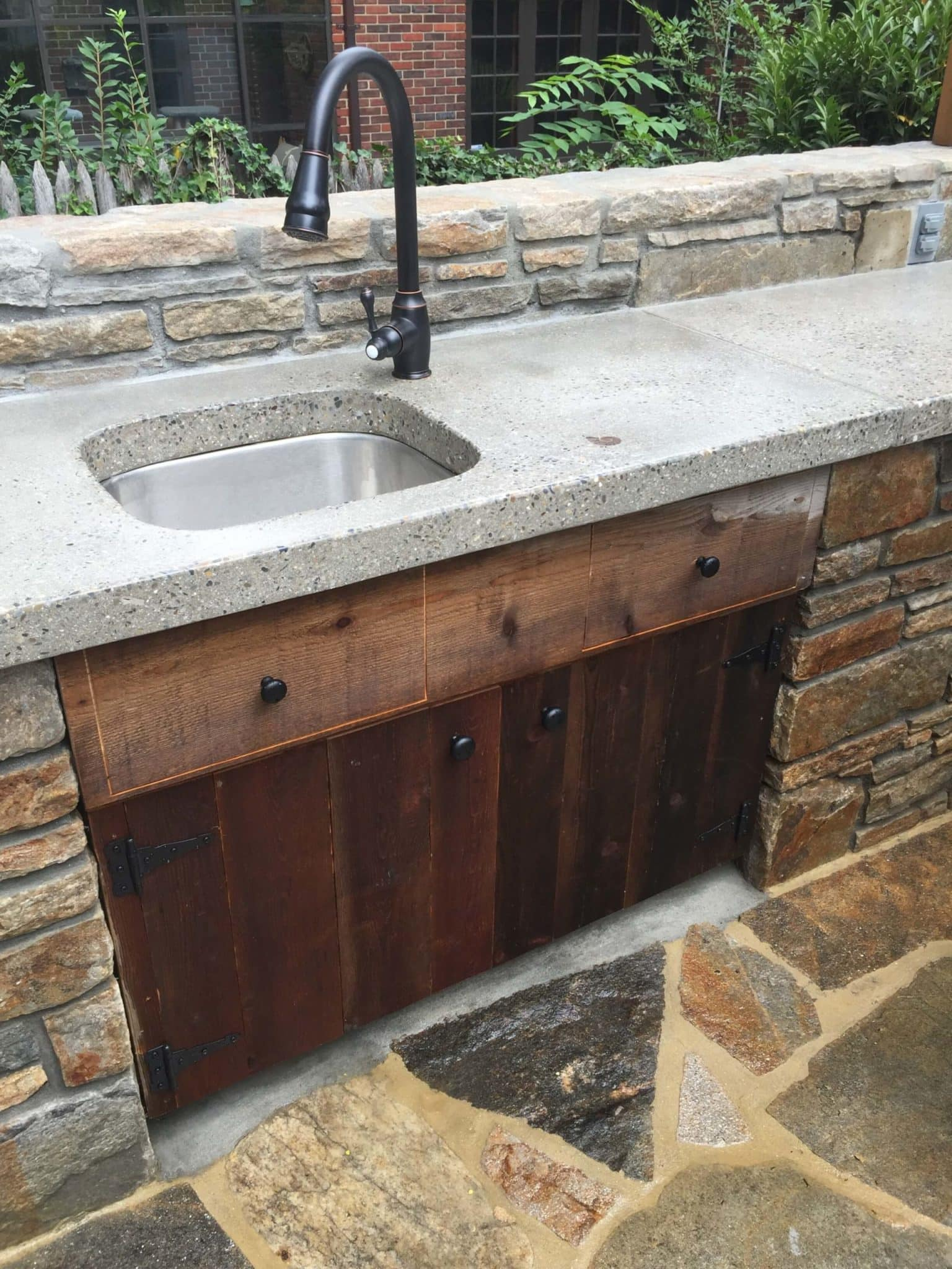 399 Outdoor Kitchen Sink with Concrete Counter Top and Built-In Wood Cabinet