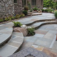 42 Curving Flagstone Steps to Flagstone Patio