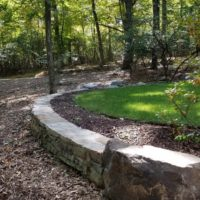 420 Curved Stone Retaining Wall